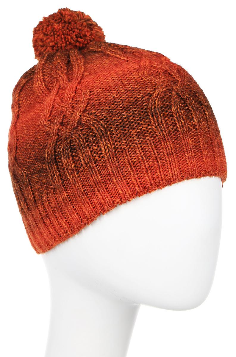 Шапка женская Marhatter, цвет: терракотовый. 4418/1. Размер 56/584418/1Вязаная шапка Marhatter выполнена из шерсти и акрила, подкладка - из мягкого флиса. Шапка превосходно сохраняет тепло, мягкая и идеально прилегает к голове.Шапка, связанная узором в виде кос, на макушке оформлена очаровательным помпоном.
