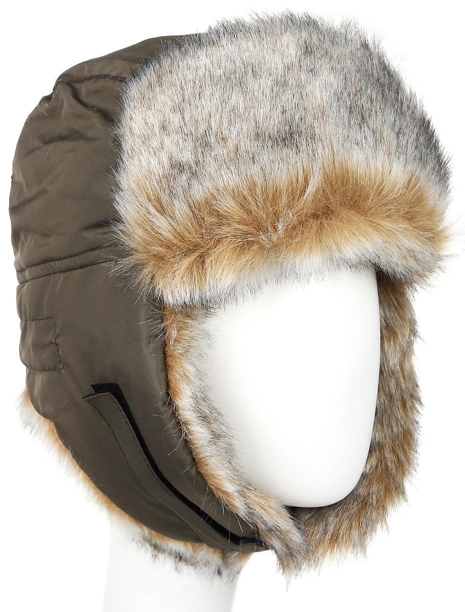 Шапка-ушанка Vostok Евро, с ветрозащитной маской, цвет: хаки. волк. Размер 58/60Евро VOSTOK волкЗимняя шапка с искусственным мехом и ветрозащитной маской. Очень удобная ипрактичная модель. Верх шапки выполнен из водонепроницаемого материала.Имитация меха волка. Утеплена радотексом и флисом для лучшейтеплоизоляции. Маска изготовлена из флиса и предназначена для защиты нижнейчасти лица от холода и ветра. Утяжка на затылке со стоппером. Уши подподбородком и наверху фиксируются с помощью липучки. Конструкция шапкипозволяет носить ее в двух вариантах. Шапка легкая, приятная на ощупь иотлично защищает от зимнего холода.