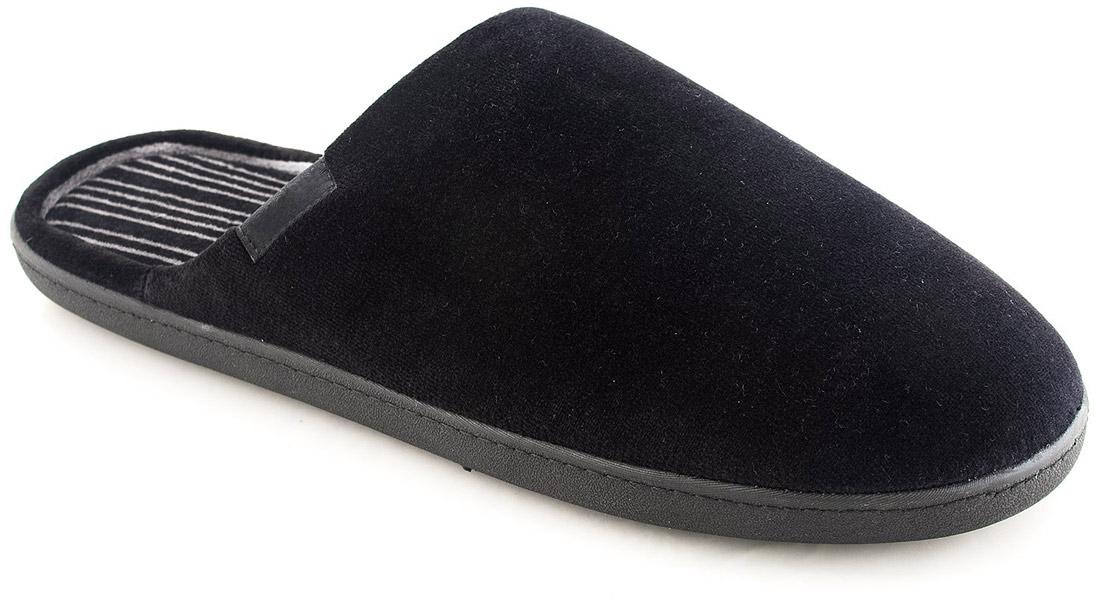 Тапки мужские Isotoner, цвет: черный. 96625. Размер 8 (41)96625Мужские домашние тапки от Isotoner выполнены из хлопка с добавлением полиэстера. Внутренняя поверхность и стелька из мягкого текстиля обеспечивают комфорт. Подошва дополнена рифлением.