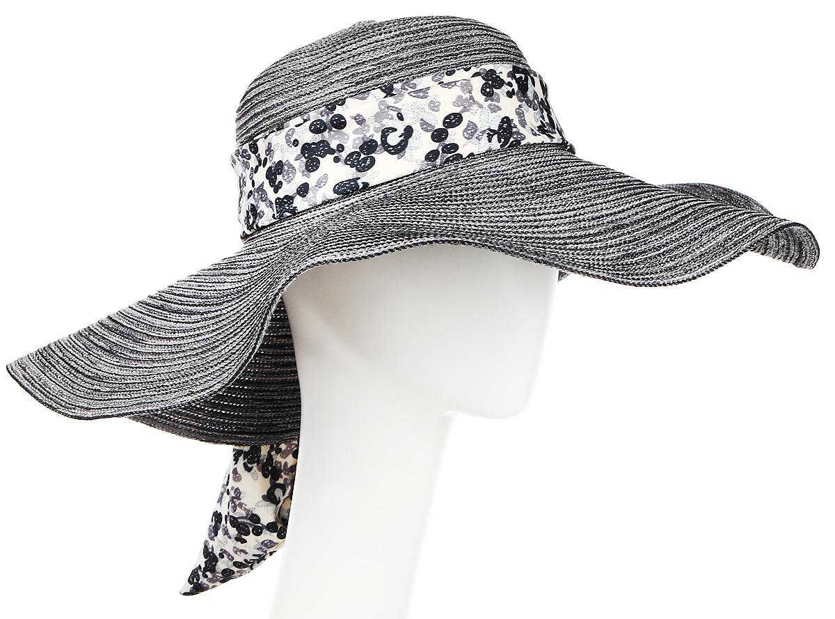 Шляпа женская Moltini, цвет: серый. 9K-1603. Размер 56/589K-1603Летняя женская шляпа Moltini, выполненная из полиэстера с добавлением нейлона, станет незаменимым аксессуаром для пляжа и отдыха на природе. Широкие поля шляпы обеспечат надежную защиту от солнечных лучей. Плетение шляпы обеспечивает необходимую вентиляцию и комфорт даже в самый знойный день. Шляпа легко восстанавливает свою форму после сжатия. Модель оформлена стильной широкой лентой вокруг тульи, украшенной оригинальным цветочным принтом.Уважаемые клиенты!Размер, доступный для заказа, является обхватом головы.