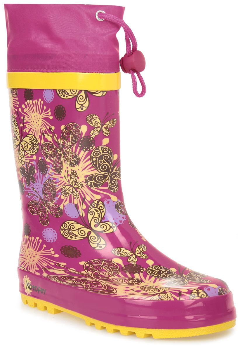 Сапоги резиновые для девочки Котофей, цвет: фуксия, черный, желтый. 366134-11. Размер 26366134-11Резиновые сапоги от Котофей - идеальная обувь в холодную дождливую погоду для вашей девочки. Сапоги выполнены из качественной резины. Голенище оформлено оригинальным принтом. Подкладка и стелька из текстиля обеспечат комфорт. Текстильный верх голенища регулируется в объеме за счет шнурка со стоппером. Подошва дополнена рифлением.