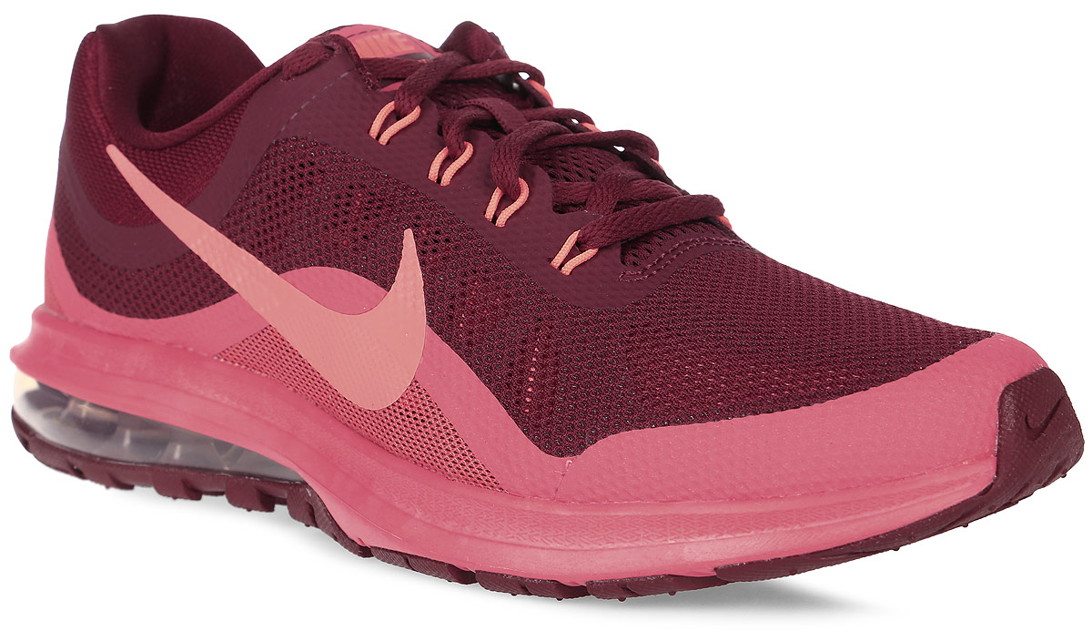 Кроссовки для бега мужские Nike Air Max Dynasty 2, цвет: бордовый, розовый. 852430-600. Размер 9 (42)852430-600Мужские беговые кроссовки Air Max Dynasty 2 от Nike выполнены из текстиля и дополнены бесшовными накладками. Подкладка и стелька из текстиля обеспечивают комфорт. Амортизирующая вставка Max Air в подошве из пеноматериала обеспечивает мягкость и поддержку, а эластичные желобки отвечают за плавность движений при беге. Шнурки с интегрированными нитями Flywire для регулируемой поддержки.Мягкая подошва из пеноматериала обеспечивает оптимальную амортизацию без утяжеления.Вафельная подметка из прочной экологичной резины обеспечивает уверенное сцепление на любых поверхностях.