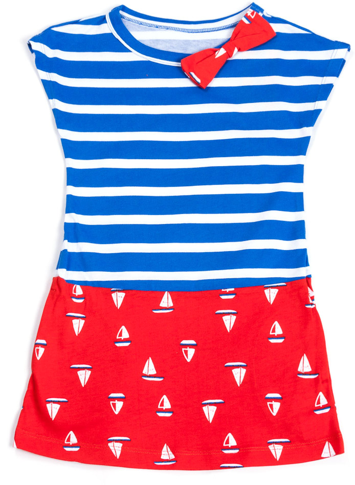Платье для девочки Mark Formelle, цвет: синий, красный. 890-0_14924. Размер 116890-0_14924/891-0_14924Модное платье Mark Formelleвыполнено из натурального хлопка. Модель с круглым вырезом горловины и короткими рукавами оформлено стильным принтом и бантиком на горловине.