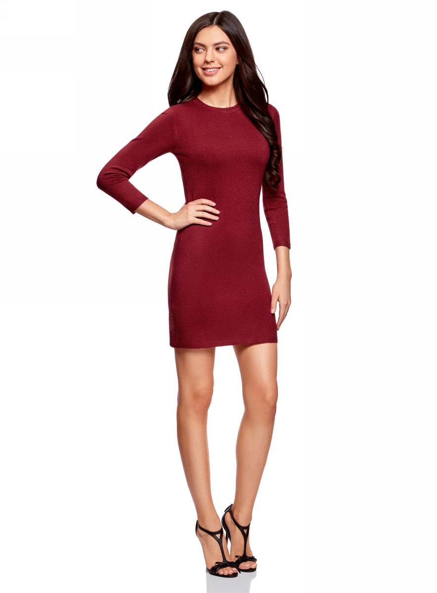 Платье oodji Ultra, цвет: бордовый меланж. 63912222-1B/46244/4901M. Размер S (44)63912222-1B/46244/4901MТрикотажное платье oodji изготовлено из качественного смесового материала. Облегающая модель выполнена с круглой горловиной и рукавами 3/4.