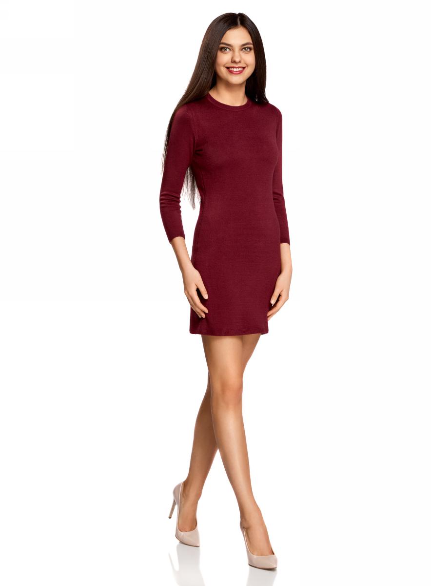 Платье oodji Ultra, цвет: бордовый. 63912222-1B/46244/4900N. Размер L (48)63912222-1B/46244/4900NТрикотажное платье oodji изготовлено из качественного смесового материала. Облегающая модель выполнена с круглой горловиной и рукавами 3/4.