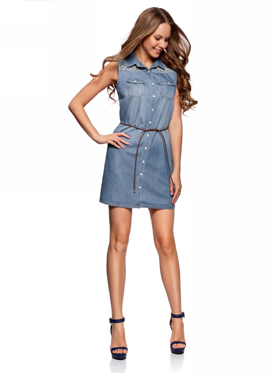 Платье oodji Ultra, цвет: синий джинс. 12909056/46790/7500W. Размер 40/170 (46-170)12909056/46790/7500WСтильное летнее платье, выполненное их хлопка и вискозы, застегивается на пуговицы по всей длине. Модель без рукавов и с отложным воротником спереди дополнено двумя нагрудными карманами. Комплектуется контрастным поясом.