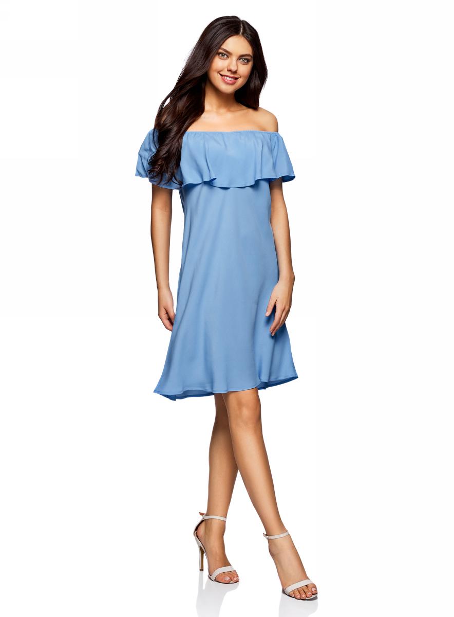 Платье oodji Ultra, цвет: синий. 11911020/42800/7500N. Размер 36/164 (42-164)11911020/42800/7500NЛегкое летнее платье выполнено из вискозы. Модель миди-длины с открытыми плечами.