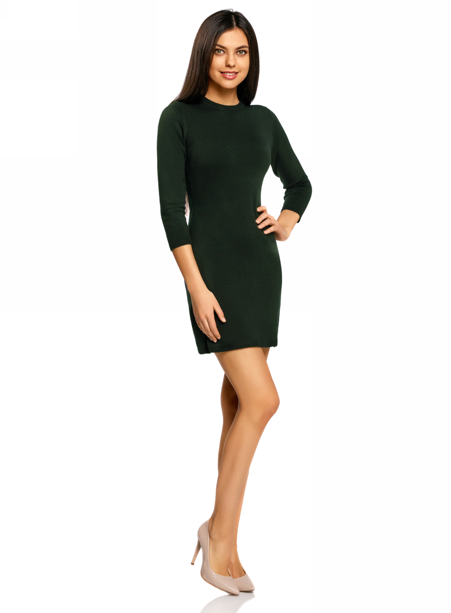 Платье oodji Ultra, цвет: темно-изумрудный. 63912222-1B/46244/6E00N. Размер XL (50)63912222-1B/46244/6E00NТрикотажное платье oodji изготовлено из качественного смесового материала. Облегающая модель выполнена с круглой горловиной и рукавами 3/4.
