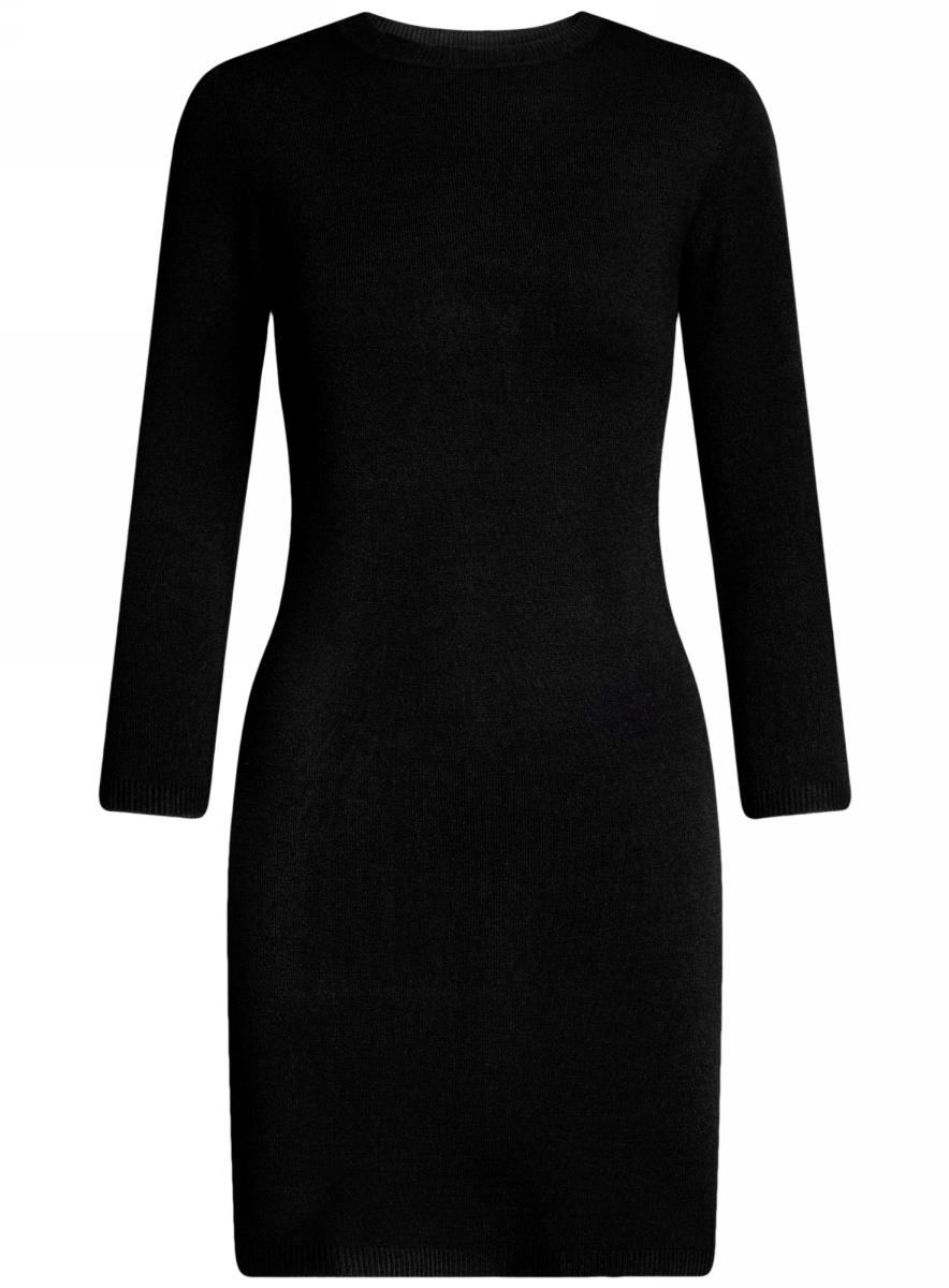 Платье oodji Ultra, цвет: черный. 63912222-1B/46244/2900N. Размер L (48)63912222-1B/46244/2900NТрикотажное платье oodji изготовлено из качественного смесового материала. Облегающая модель выполнена с круглой горловиной и рукавами 3/4.