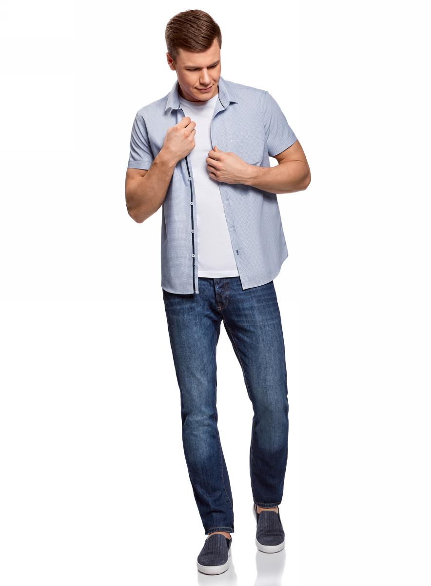 Рубашка мужская oodji Lab, цвет: индиго, белый. 3L210047M/44425N/7810G. Размер 44/182 (56-182)3L210047M/44425N/7810GМужская рубашка от oodji выполнена из натурального хлопка. Модель приталенного кроя с короткими рукавами и нагрудным карманом застегивается на пуговицы.