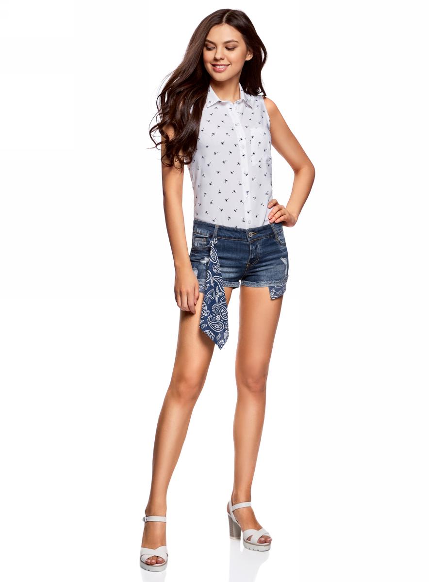 Шорты женские oodji Ultra, цвет: темно-синий джинс. 12807088/46787/7900W. Размер 26 (42)12807088/46787/7900WШорты джинсовые с банданой