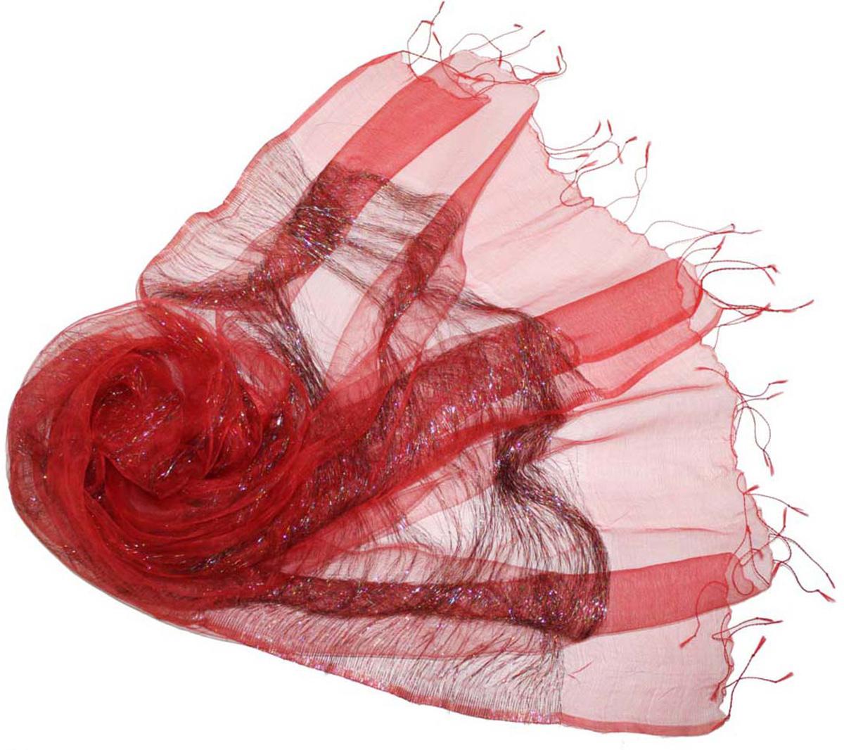 Шарф женский Ethnica, цвет: красный. 173150. Размер 60 см х 180 см173150Стильный шарф привлекательной расцветки с кисточками по краю изготовлен из 100% шелка. Он удачно дополнит ваш гардероб и поможет создать новый повседневный образ, добавить в него яркие краски. Отличный вариант для тех, кто стремится к самовыражению и новизне!