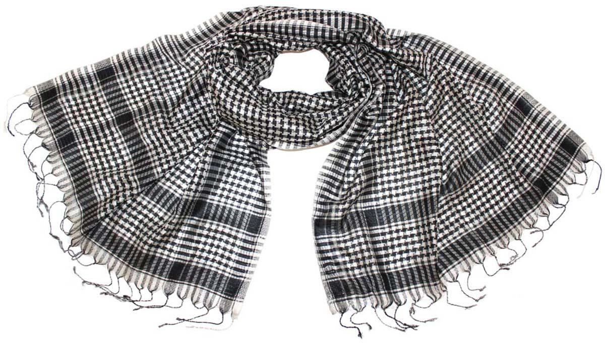 Шарф женский Ethnica, цвет: черно-белый. 888225. Размер 50 см х 170 см888225Стильный шарф привлекательной расцветки с кисточками по краю изготовлен из 100% шелка. Он удачно дополнит ваш гардероб и поможет создать новый повседневный образ, добавить в него яркие краски. Отличный вариант для тех, кто стремится к самовыражению и новизне!