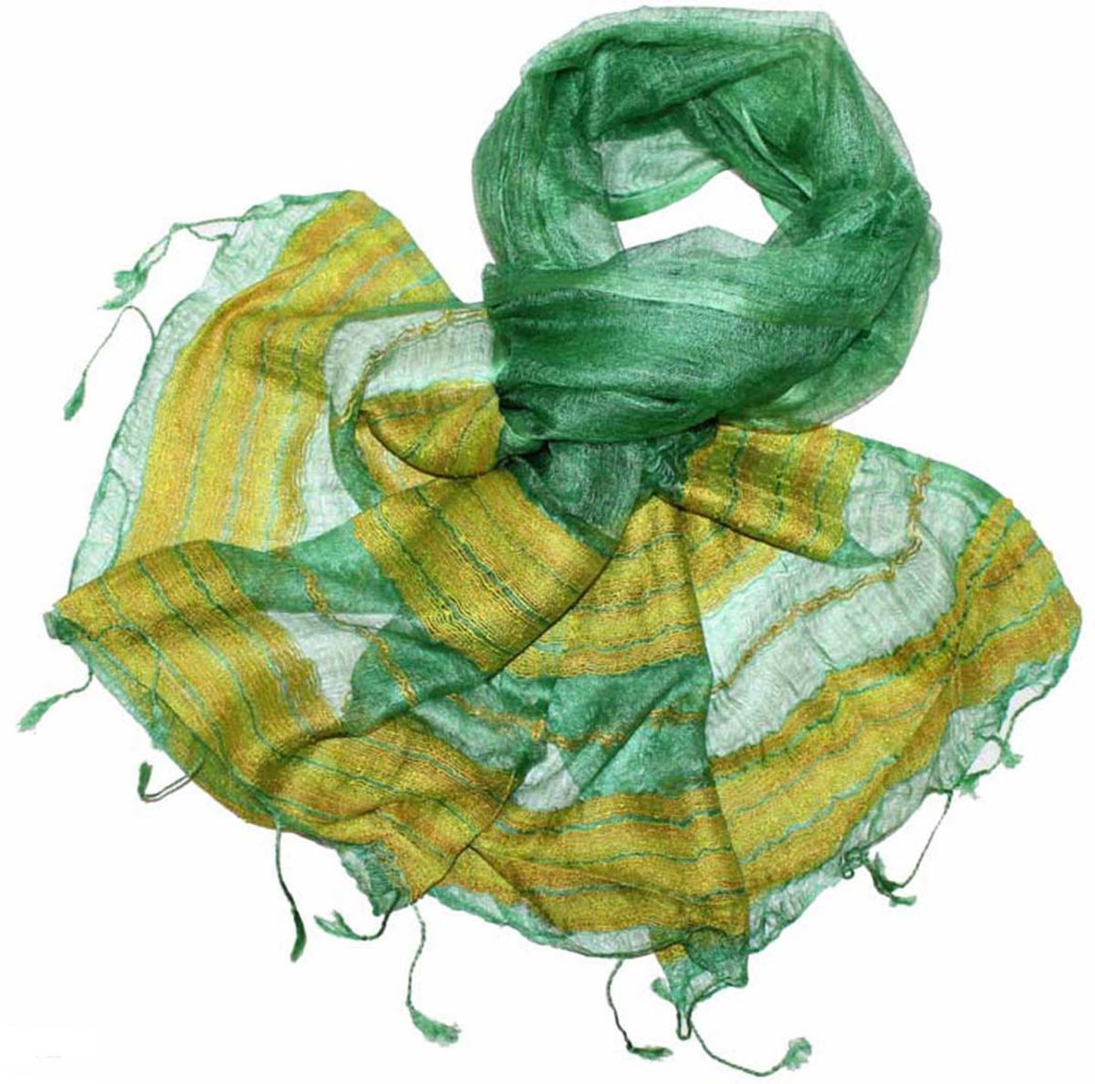 Палантин женский Ethnica, цвет: зеленый, желтый. 761125. Размер 70 см х 180 см761125Стильный палантин привлекательной расцветки с кисточками по краям изготовлен из шелка. Он удачно дополнит ваш гардероб и поможет создать новый повседневный образ, добавить в него яркие краски. Отличный вариант для тех, кто стремится к самовыражению и новизне!