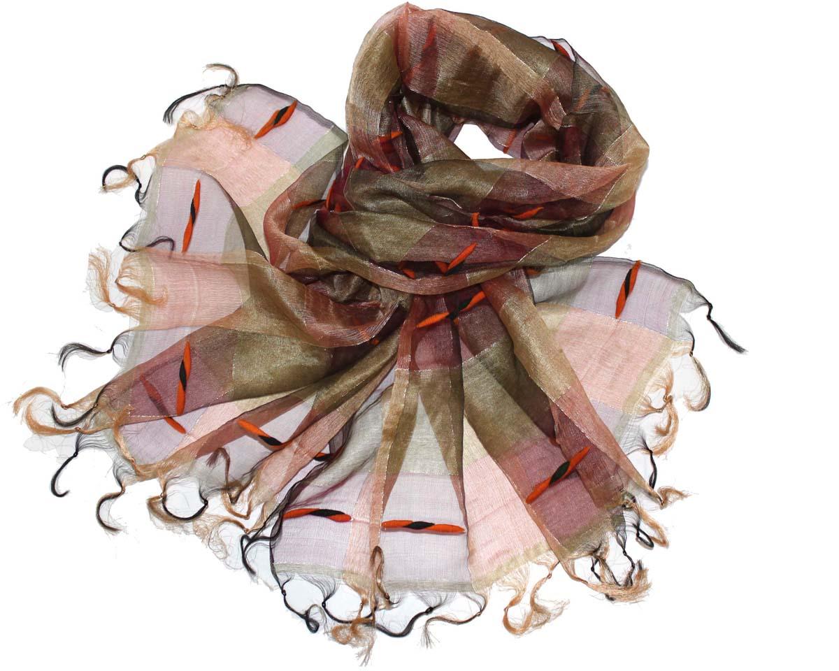 Палантин женский Ethnica, цвет: хаки, коричневый. 760150. Размер 70 см х 180 см760150Стильный палантин привлекательной расцветки с кисточками по краям изготовлен из шелка. Он удачно дополнит ваш гардероб и поможет создать новый повседневный образ, добавить в него яркие краски. Отличный вариант для тех, кто стремится к самовыражению и новизне!