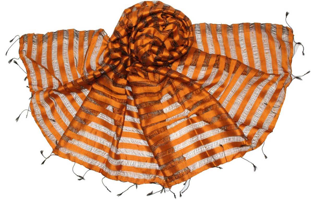 Палантин женский Ethnica, цвет: оранжевый. 586200. Размер 70 см х 180 см586200Стильный палантин привлекательной расцветки с кисточками по краям изготовлен из шелка. Он удачно дополнит ваш гардероб и поможет создать новый повседневный образ, добавить в него яркие краски. Отличный вариант для тех, кто стремится к самовыражению и новизне!
