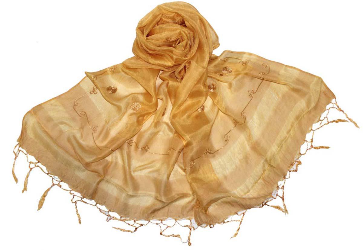 Шарф женский Ethnica, цвет: песочный. 916225. Размер 55 см х 180 см916225Стильный шарф привлекательной расцветки с кисточками по краю изготовлен из 100% шелка. Он удачно дополнит ваш гардероб и поможет создать новый повседневный образ, добавить в него яркие краски. Отличный вариант для тех, кто стремится к самовыражению и новизне!