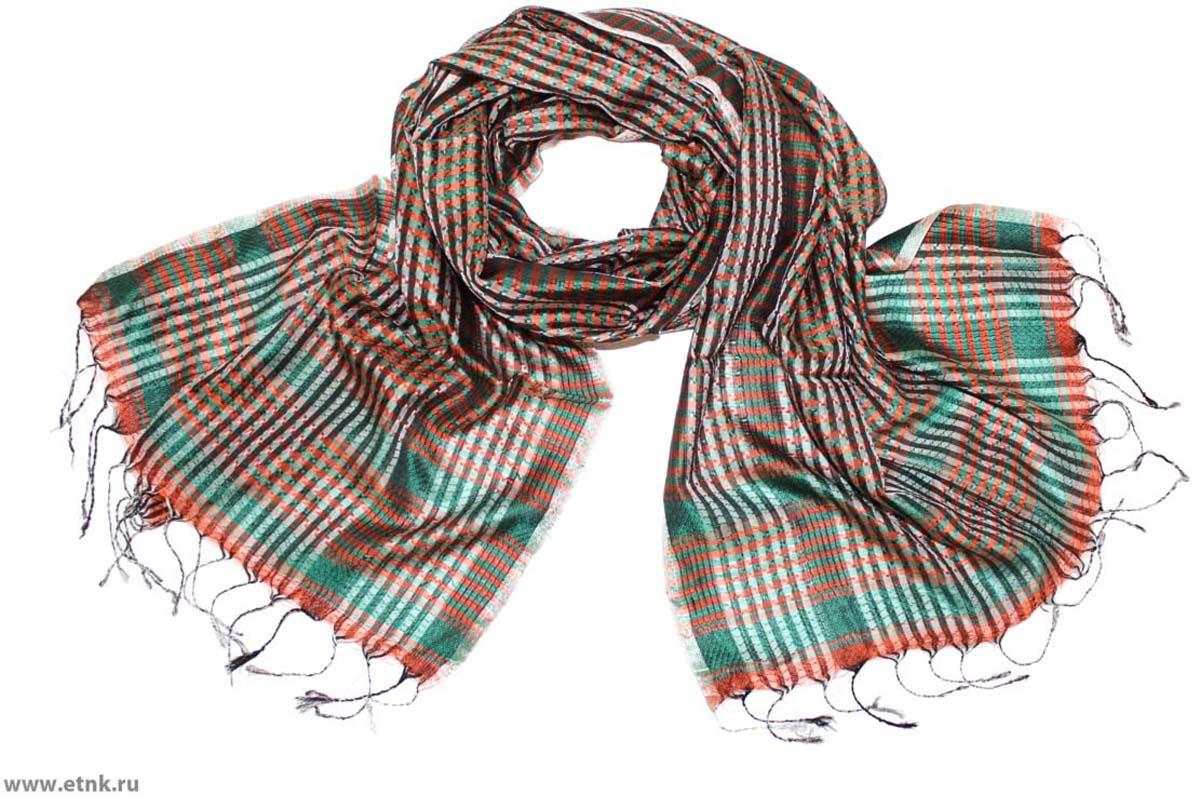 Шарф женский Ethnica, цвет: терракотовый, зеленый. 888225. Размер 50 см х 170 см888225Стильный шарф привлекательной расцветки с кисточками по краю изготовлен из 100% шелка. Он удачно дополнит ваш гардероб и поможет создать новый повседневный образ, добавить в него яркие краски. Отличный вариант для тех, кто стремится к самовыражению и новизне!