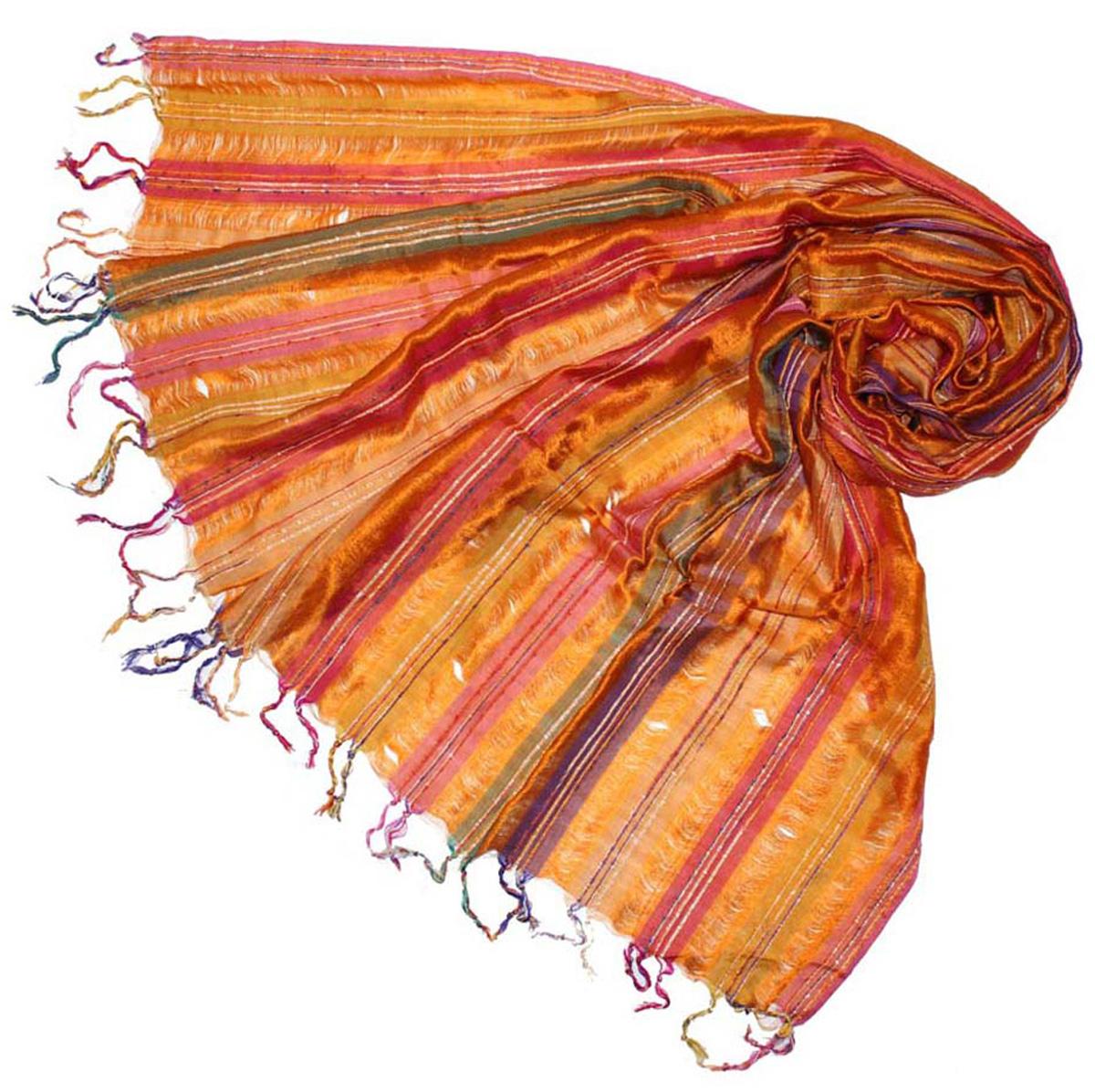 Шарф женский Ethnica, цвет: оранжевый, мультиколор. 589200. Размер 55 см х 180 см589200Стильный шарф привлекательной расцветки с кисточками по краю изготовлен из 100% шелка. Он удачно дополнит ваш гардероб и поможет создать новый повседневный образ, добавить в него яркие краски. Отличный вариант для тех, кто стремится к самовыражению и новизне!