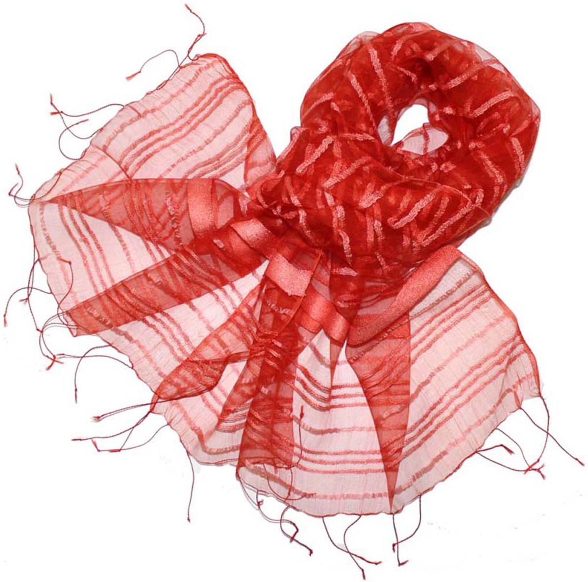 Шарф женский Ethnica, цвет: кирпичный. 484150н. Размер 65 см х 180 см484150нСтильный шарф привлекательной расцветки с кисточками по краю изготовлен из 100% вискозы. Он удачно дополнит ваш гардероб и поможет создать новый повседневный образ, добавить в него яркие краски. Отличный вариант для тех, кто стремится к самовыражению и новизне!