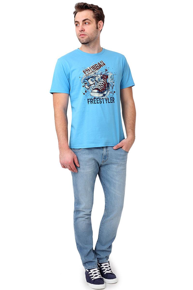 Футболка мужская F5, цвет: голубой. 14485_02285. Размер XL (52)14485_02285/Shoes, TR Plain, blueСтильная мужская футболкаF5 выполнена из натурального хлопка. Футболка с коротким рукавом и небольшим круглым вырезом оформлена принтом и надписью.