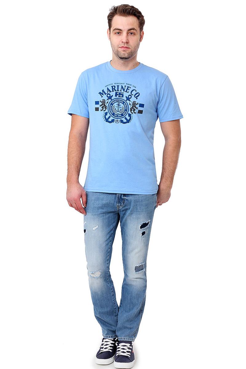 Футболка мужская F5, цвет: голубой. 14493_02285. Размер S (46)14493_02285/Marine, TR Plain, blueСтильная мужская футболкаF5 выполнена из натурального хлопка. Футболка с коротким рукавом и небольшим круглым вырезом оформлена принтом и надписью.