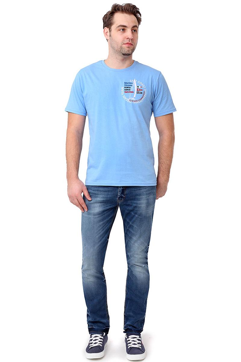 Футболка мужская F5, цвет: голубой. 14502_02285. Размер XL (52)14502_02285/O.Team, TR Plain, blueСтильная мужская футболкаF5 выполнена из натурального хлопка. Футболка с коротким рукавом и небольшим круглым вырезом оформлена принтом и надписью.