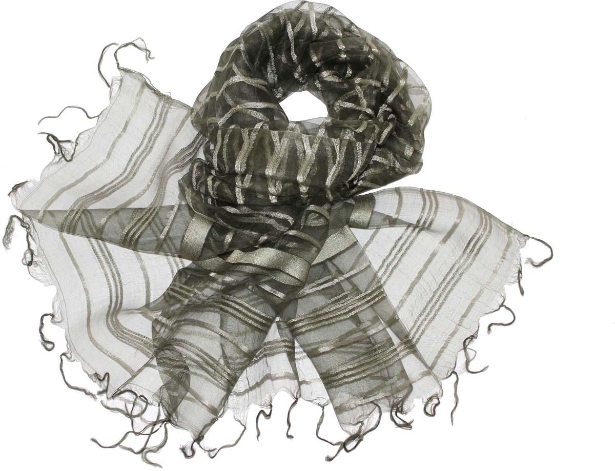 Шарф женский Ethnica, цвет: хаки. 484150н. Размер 65 см х 180 см484150нСтильный шарф привлекательной расцветки с кисточками по краю изготовлен из 100% вискозы. Он удачно дополнит ваш гардероб и поможет создать новый повседневный образ, добавить в него яркие краски. Отличный вариант для тех, кто стремится к самовыражению и новизне!