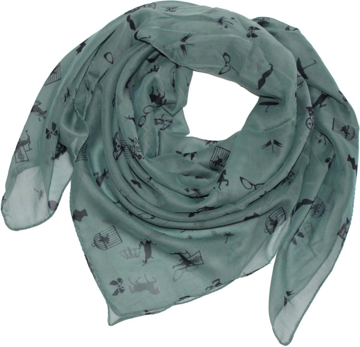 Платок женский Ethnica, цвет: серо-зеленый. 524040н. Размер 90 см х 90 см524040нСтильный платок привлекательной расцветки изготовлен из 100% вискозы. Он удачно дополнит ваш гардероб и поможет создать новый повседневный образ, добавить в него яркие краски. Отличный вариант для тех, кто стремится к самовыражению и новизне!