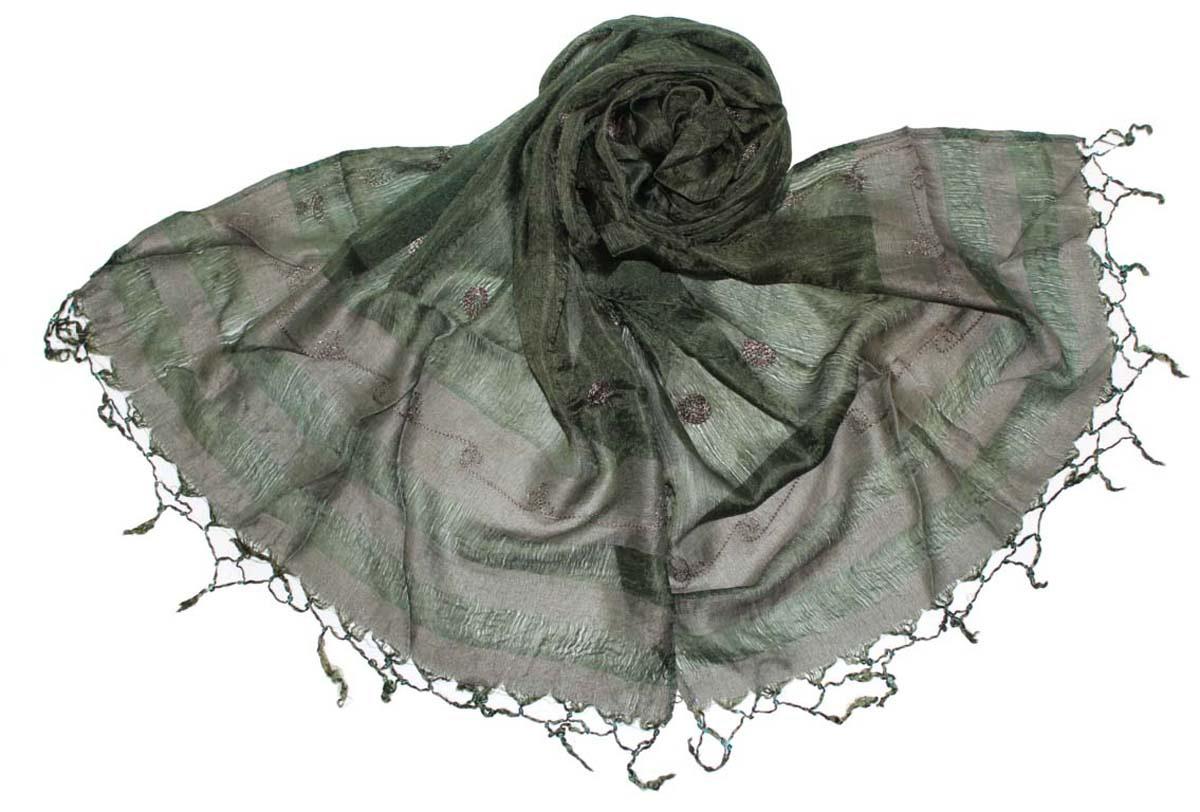 Шарф женский Ethnica, цвет: темно-болотный. 916225. Размер 55 см х 180 см916225Стильный шарф привлекательной расцветки с кисточками по краю изготовлен из 100% шелка. Он удачно дополнит ваш гардероб и поможет создать новый повседневный образ, добавить в него яркие краски. Отличный вариант для тех, кто стремится к самовыражению и новизне!