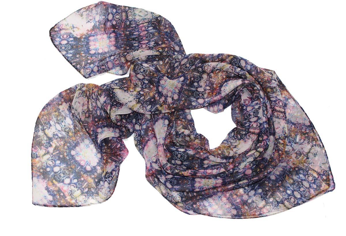 Платок женский Ethnica, цвет: синий, бежевый. 524040н. Размер 90 см х 90 см524040нСтильный платок привлекательной расцветки изготовлен из 100% вискозы. Он удачно дополнит ваш гардероб и поможет создать новый повседневный образ, добавить в него яркие краски. Отличный вариант для тех, кто стремится к самовыражению и новизне!