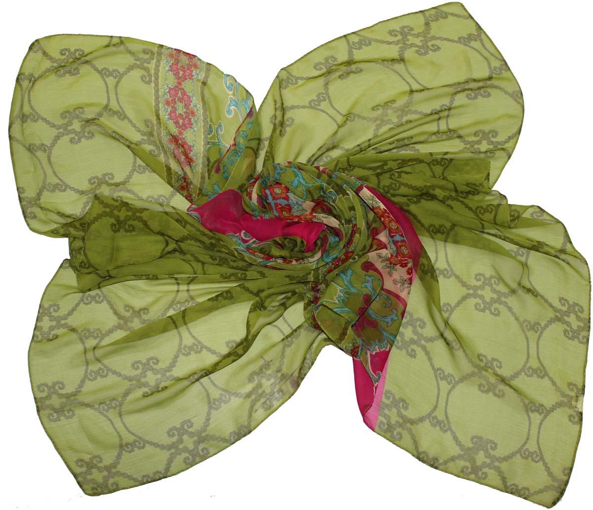 Платок женский Ethnica, цвет: лайм, фуксия. 524040н. Размер 90 см х 90 см524040нСтильный платок привлекательной расцветки изготовлен из 100% вискозы. Он удачно дополнит ваш гардероб и поможет создать новый повседневный образ, добавить в него яркие краски. Отличный вариант для тех, кто стремится к самовыражению и новизне!