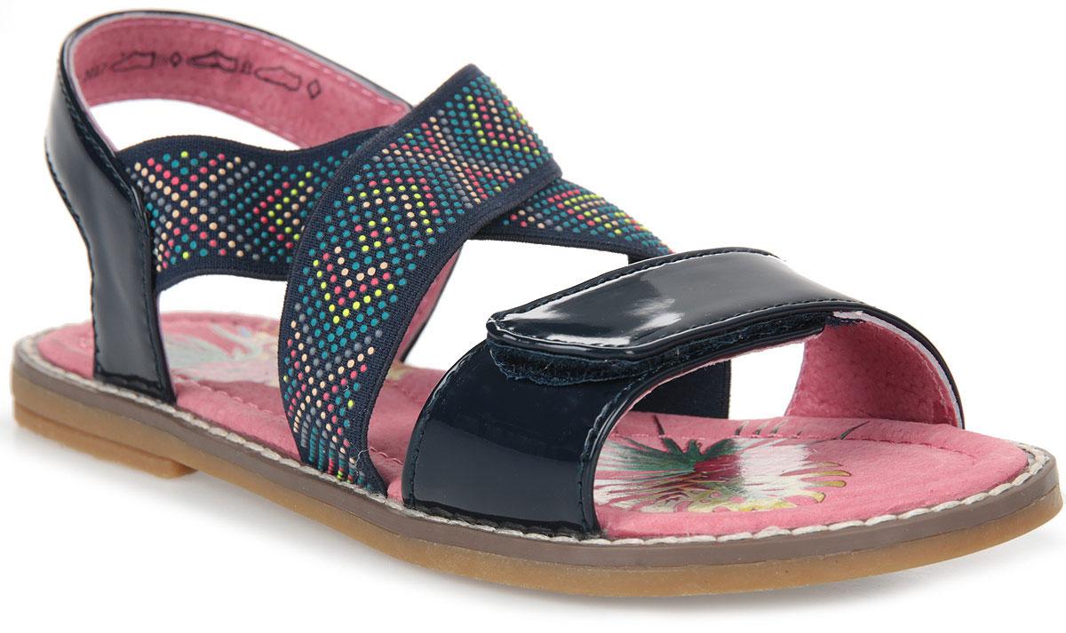 Сандалии для девочки Котофей, цвет: темно-синий. 524017-21. Размер 34524017-21Модные сандалии для девочки от Котофей выполнены из искусственной лакированной кожи и текстиля. Эластичные ремешки на подъеме и передний ремешок с застежкой-липучкой надежно зафиксируют модель на ноге. Внутренняя поверхность и стелька из натуральной кожи обеспечат комфорт при движении. Подошва дополнена рифлением.