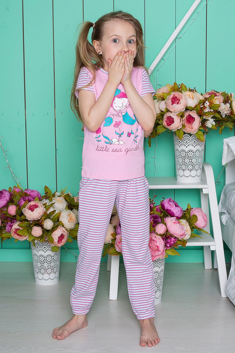 Пижама для девочки Sweet Berry, цвет: розовый. 195601. Размер 122195601Пижама для девочки Sweet Berry состоит из футболки и брюк. Пижама изготовлена из натурального хлопка с небольшим добавлением эластана. Футболка с короткими рукавами и круглым вырезом горловины на груди оформлена принтом с изображением русалочки. Прямые брюки с широкой эластичной резинкой на поясе и регулируемым шнурком оформлены принтом в полоску. Низ брючин собран на резинку. В такой пижаме ваше малышке будет максимально комфортно и уютно.