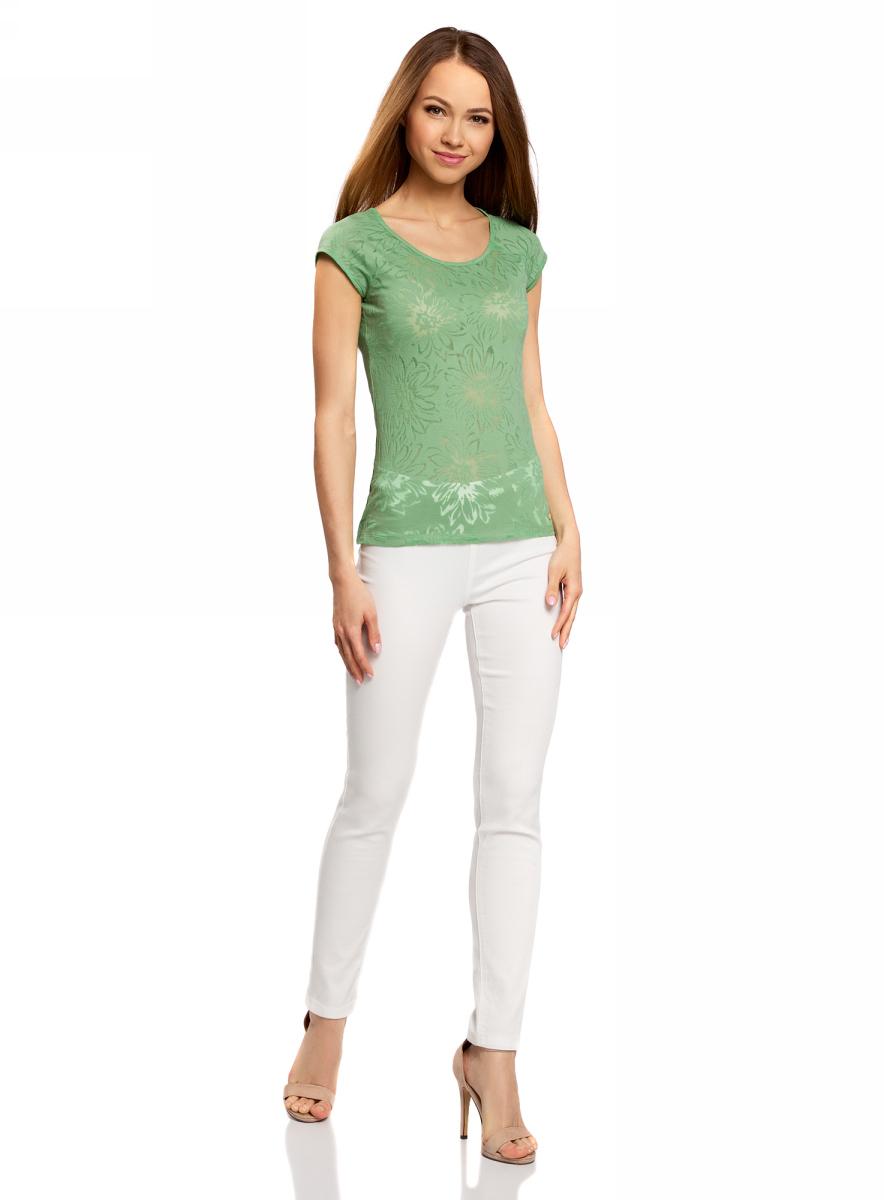 Футболка женская oodji Collection, цвет: зеленый. 24707002-2/18047/6200F. Размер S (44)24707002-2/18047/6200FЖенская футболка выполнена из фактурной ткани с коротким рукавом-реглан.