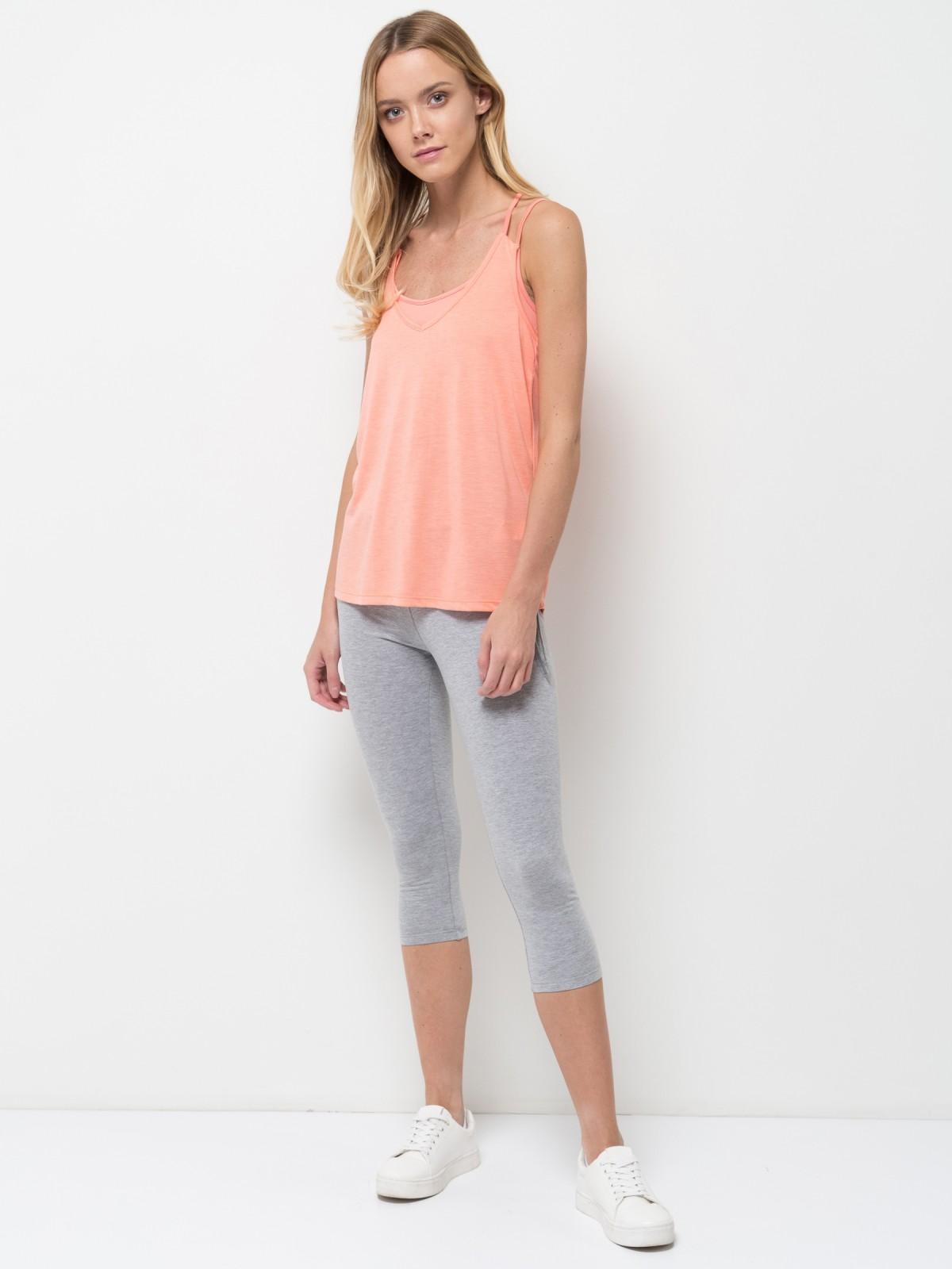Майка женская Sela, цвет: бледно-оранжевый. Tsl-111/1252-7234. Размер XL (50)Tsl-111/1252-7234Оригинальная женская майка Sela, выполненная из качественного легкого материала, отлично подойдет для занятий спортом и для повседневной носки. Модель прямого кроя на бретельках с вшитым поддерживающим топом будет отлично сочетаться с джинсами, лосинами и шортами. Мягкая ткань на основе полиэстера и вискозы комфортна и приятна на ощупь.