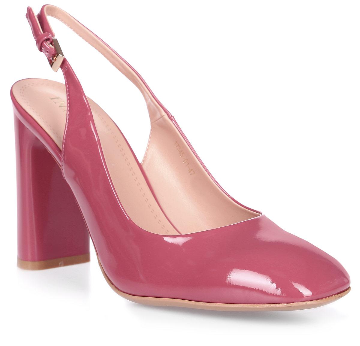 Туфли женские Inario, цвет: малиновый. 17345-01-47. Размер 3717345-01-47Элегантные туфли Inario с открытой пяткой выполнены из искусственной лаковой кожи. Внутренняя поверхность и стелька из искусственной кожи обеспечат комфорт при движении. Ремешок с металлической пряжкой надежно зафиксирует модель на ноге. Туфли имеют круглый мысок и широкий устойчивый каблук.