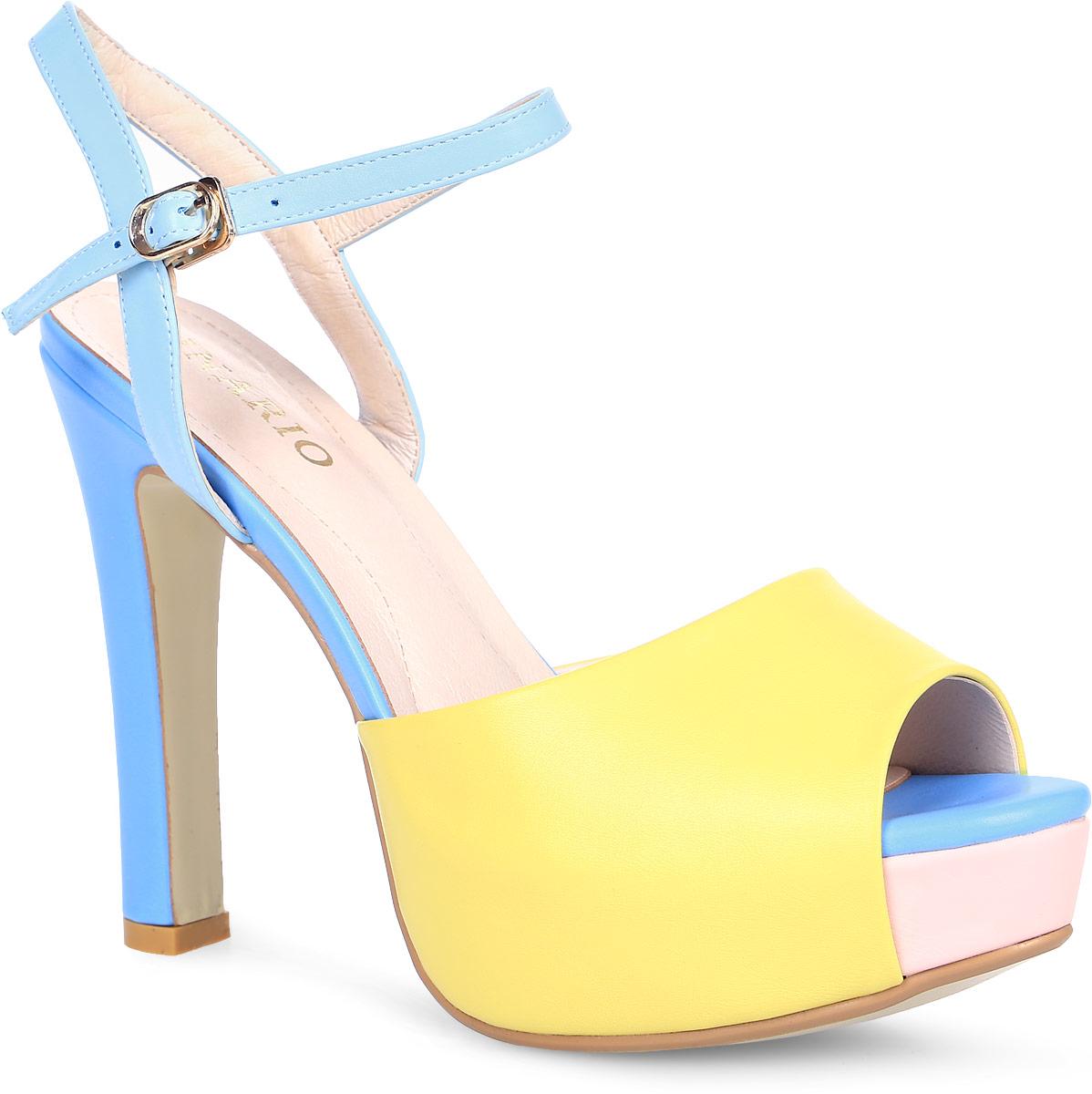 Босоножки Inario, цвет: желтый, голубой. 17121-02-6. Размер 4017121-02-6Яркие босоножки Inario на платформе выполнены из искусственной кожи. Модель фиксируется на ноге при помощи ремешка на пряжке. Внутренняя поверхность и стелька из искусственной кожи создают комфорт при движении. Подошва выполнена из прочного полимерного материала. Модель имеет высокий устойчивый каблук.