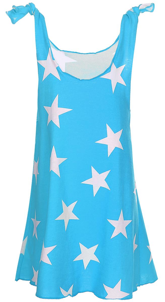 Платье для девочек КотМарКот, цвет: бирюзовый, белый. 21413. Размер 10421413Яркое платье для девочки КотМарКот выполнено из качественного хлопка. Модель прямого кроя с юбкой-клеш и без рукавов, оформлена принтом. Модель дополненакруглым вырезом горловины.