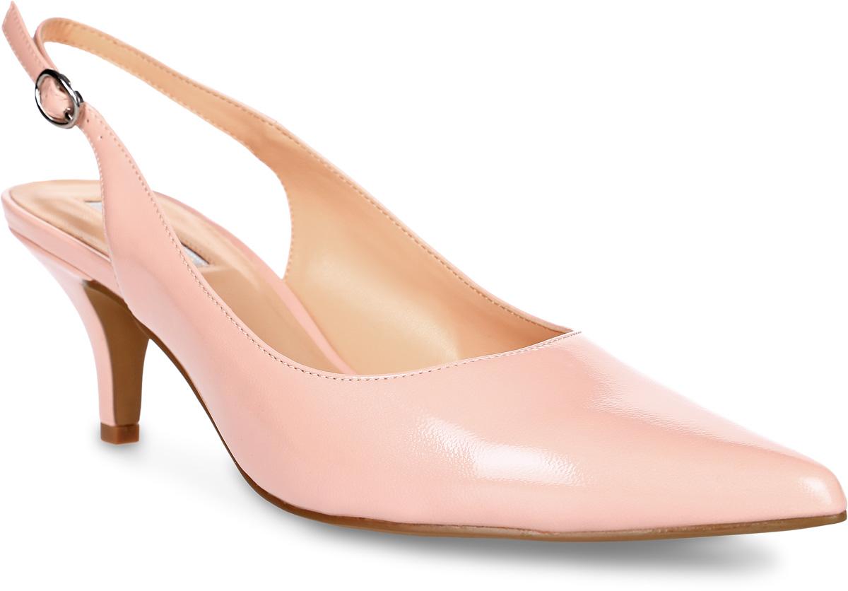 Туфли женские Inario, цвет: розовый. 17010-10-19. Размер 3517010-10-19Элегантные туфли Inario с открытой пяткой выполнены из искусственной лаковой кожи. Внутренняя поверхность и стелька из искусственной кожи обеспечат комфорт при движении. Ремешок с металлической пряжкой надежно зафиксирует модель на ноге. Подошва выполнена из полимера. Туфли имеют острый мысок и низкий каблук-шпильку.