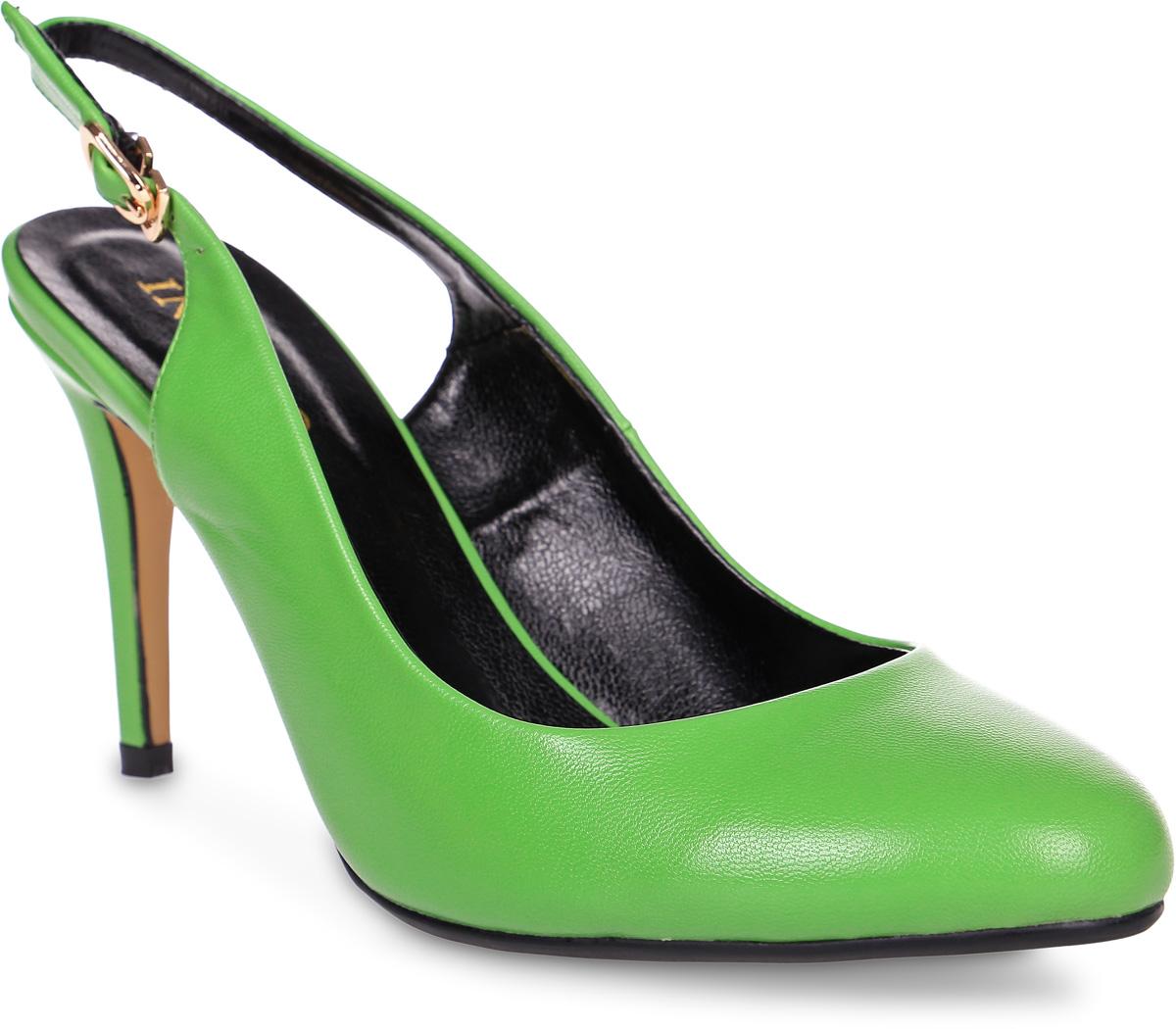 Туфли женские Inario, цвет: зеленый. 17088-01-21. Размер 4017088-01-21Элегантные туфли Inario с открытой пяткой выполнены из искусственной кожи. Внутренняя поверхность и стелька из искусственной кожи обеспечат комфорт при движении. Ремешок с металлической пряжкой надежно зафиксирует модель на ноге. Туфли имеют закругленный мысок и устойчивый каблук-шпильку.