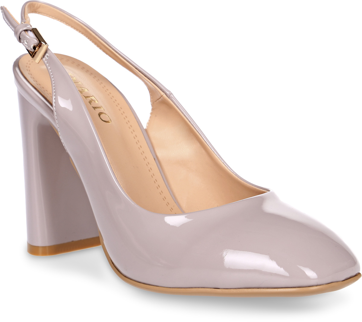 Туфли женские Inario, цвет: серый. 17345-01-10. Размер 3717345-01-10Элегантные туфли Inario с открытой пяткой выполнены из искусственной лаковой кожи. Внутренняя поверхность и стелька из искусственной кожи обеспечат комфорт при движении. Ремешок с металлической пряжкой надежно зафиксирует модель на ноге. Туфли имеют круглый мысок и широкий устойчивый каблук.
