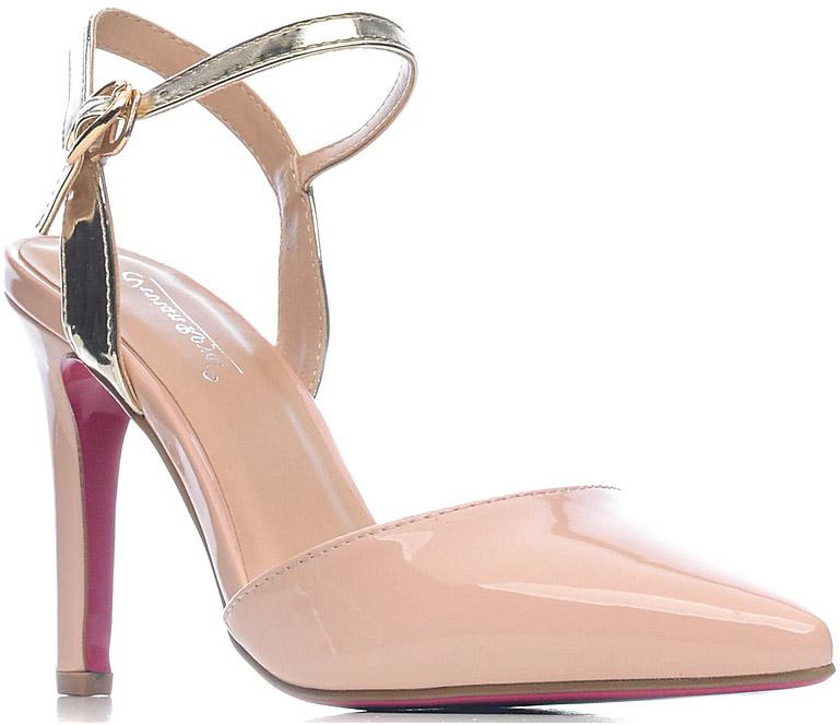 Туфли женские Vivian Royal, цвет: розовый, золотой. D061-1. Размер 39D061-1Стильные женские туфли от Vivian Royal не оставят вас незамеченной! Модель изготовлена из качественной искусственной кожи. Туфли выполнены с открытой пяткой и тонким ремешком с пряжкой. Подошва с тонким каблуком средней высоты.