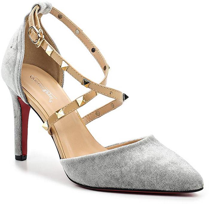 Туфли женские Vivian Royal, цвет: серый. D084-1. Размер 40D084-1Стильные женские туфли от Vivian Royal не оставят вас незамеченной! Модель изготовлена из качественной искусственной кожи. Туфли выполнены с оригинальным ремешком с пряжкой. Ремешок дополнен декоративными вставками. Подошва выполнена с тонким каблуком средней высоты.