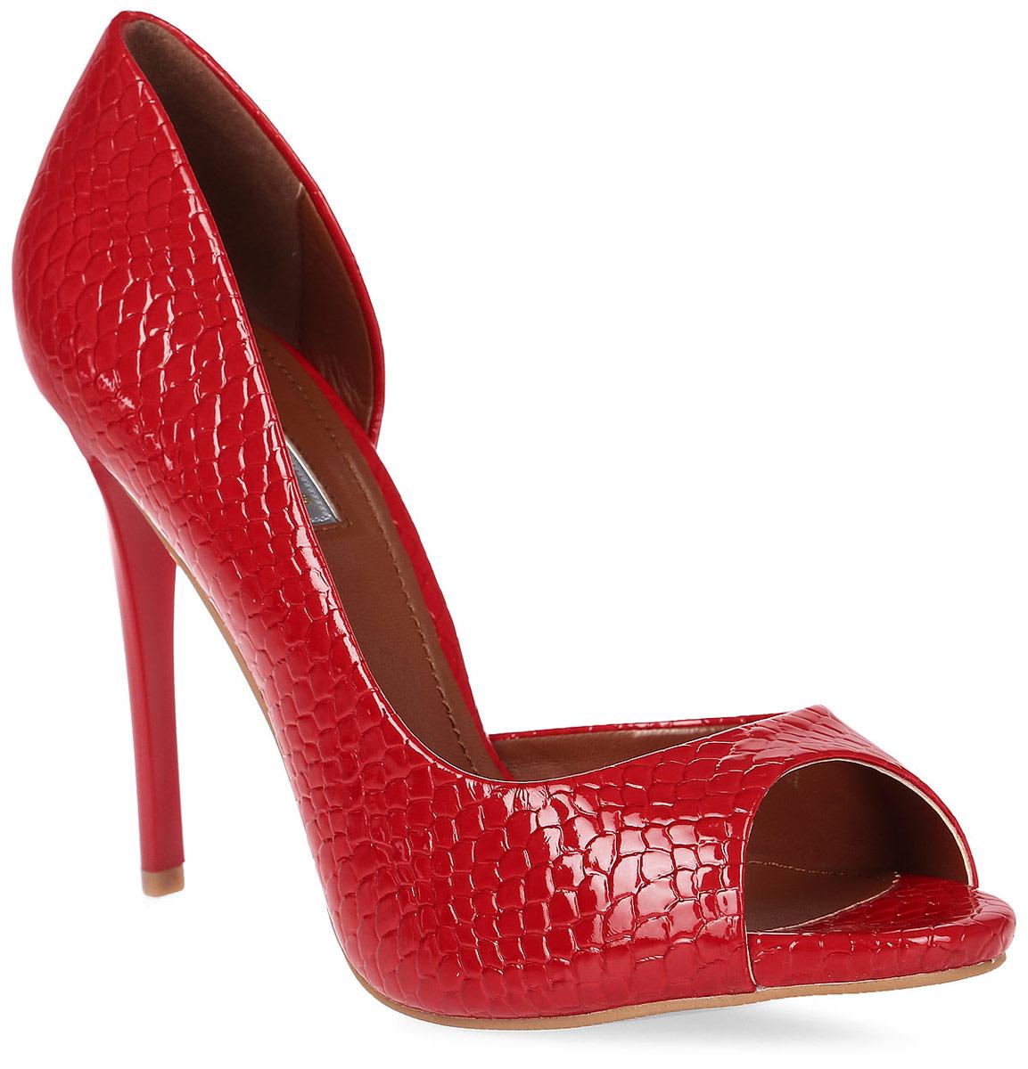 Туфли женские Inario, цвет: красный. 17007-01-5. Размер 4017007-01-5Элегантные туфли Inario с открытым мыском выполнены из искусственной кожи с тиснением под рептилию. Внутренняя поверхность и стелька из искусственной кожи обеспечат комфорт при движении. Подошва выполнена из полимера. Модель имеет высокий устойчивый каблук-шпильку.