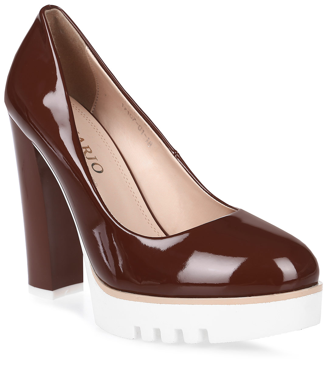 Туфли женские Inario, цвет: коричневый. 17107-01-18. Размер 4017107-01-18Туфли на платформе Inario выполнены из искусственной лаковой кожи. Внутренняя поверхность и стелька из искусственной кожи обеспечат комфорт при движении. Рифленая подошва выполнена из полимера. Модель имеет круглый мысок и высокий устойчивый каблук.