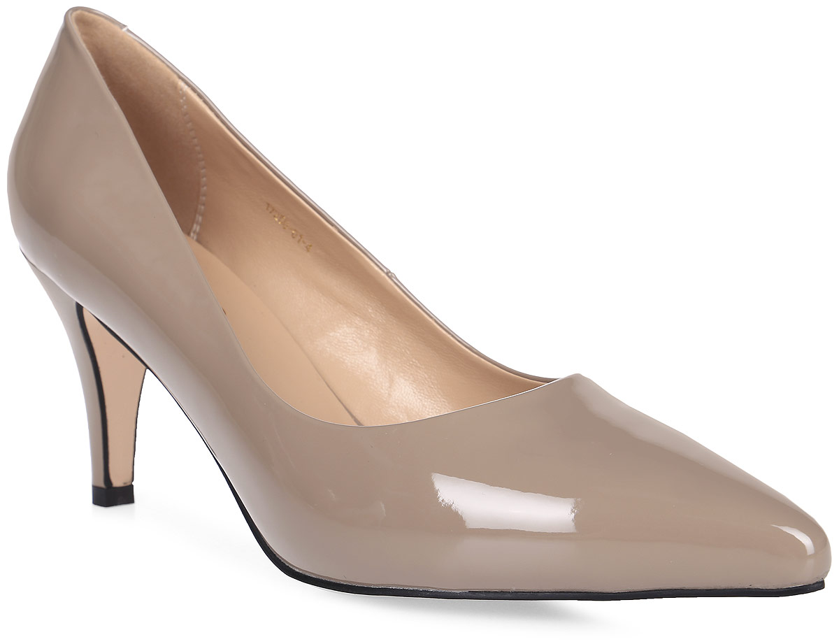 Туфли женские Inario, цвет: бежевый. 17250-01-4. Размер 3717250-01-4Туфли Inario выполнены из искусственной лаковой кожи. Внутренняя поверхность и стелька из искусственной кожи обеспечат комфорт при движении. Подошва выполнена из полимера. Модель имеет острый мысок и невысокий устойчивый каблук.