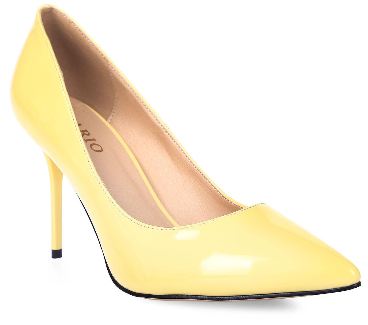 Туфли женские Inario, цвет: желтый. 17176-01-6. Размер 3717176-01-6Туфли Inario выполнены из искусственной лаковой кожи. Внутренняя поверхность и стелька из искусственной кожи обеспечат комфорт при движении. Подошва выполнена из полимера. Модель имеет острый мысок и каблук-шпильку.