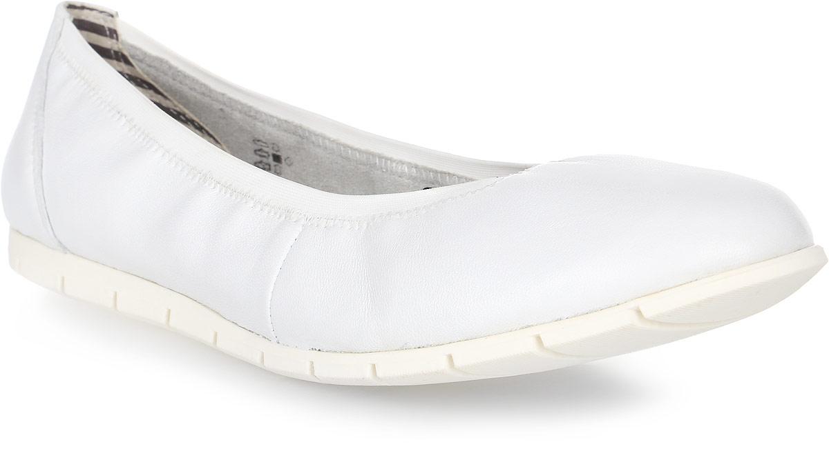 Балетки женские Tamaris, цвет: белый. 1-1-22109-28-117/266. Размер 391-1-22109-28-117/266Модные балетки от Tamaris придутся вам по душе. Модель с округлым мыском выполнена из натуральной кожи. Кожаная стелька позволяет ногам дышать. Рифленая поверхность подошвы обеспечивает идеальное сцепление с различными поверхностями. Стильные балетки внесут яркие нотки в ваш модный образ!