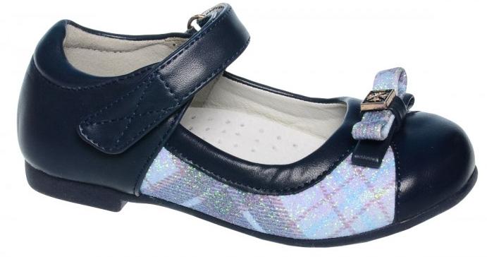 Туфли для девочки Tom&Miki, цвет: темно-синий. B-1017-A. Размер 26B-1017-AУдобные и красивые туфли от Tom&Miki придутся по душе вашей малышке. Модель выполнена из качественной искусственной кожи и оформлена блестками с узором в клетку и бантиком с декоративным металлическим элементом. Внутренняя часть изделия и стелька изготовлены из натуральной кожи, что придает максимальный комфорт во время носки. Стелька дополнена супинатором, обеспечивающимправильное положение ноги ребенка при ходьбе и предотвращающим плоскостопие. Ремешок с застежкой-липучкой и плотный задник обеспечат оптимальную посадку модели на ноге. Рифленая подошва с небольшим каблучком обеспечивает надежное сцепление с любой поверхностью и защищает от скольжения во время движения.